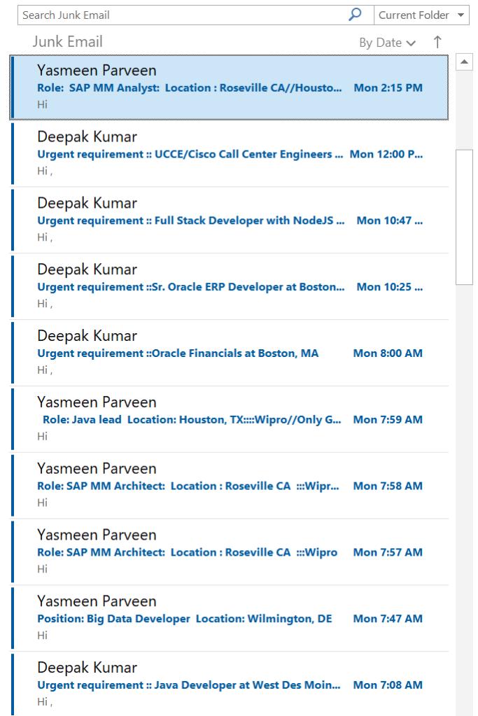 Recruiters Junk Folder