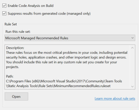 VS 2017-CODE ANALYSIS
