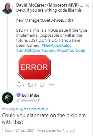 Hidden Dispose Issues-Tweet